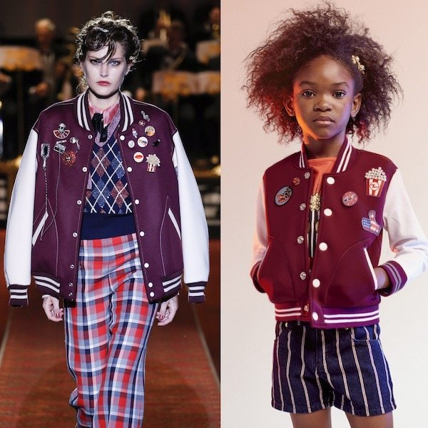 LITTLE MARC JACOBS Girls Mini Me Burgundy Varsity Jacket from Marc Jacobs SS16 Runway Show at NYFW