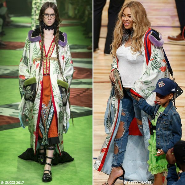 Beyonce Wears Gucci Womens Kimono Spring 2017 at NBA ALL STAR GAME New Orleans