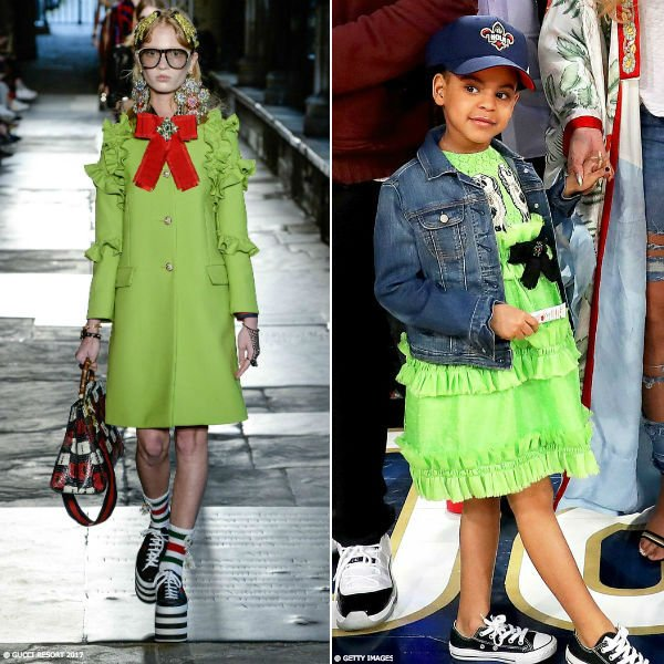 Blue Ivy Carter Gucci Green Broder Anglaise Dress NBA All Star Game New Orleans Feb 2017 2