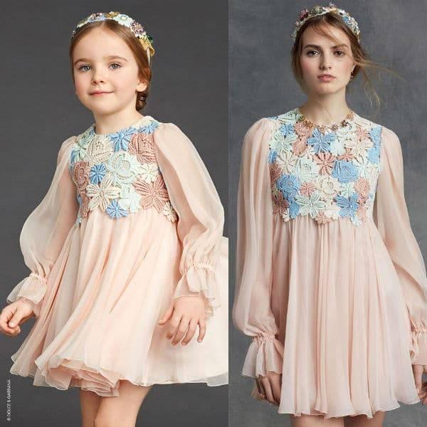 DOLCE & GABBANA Girls Mini Me Pink Silk Chiffon Dress with Macrame Lace Bodice