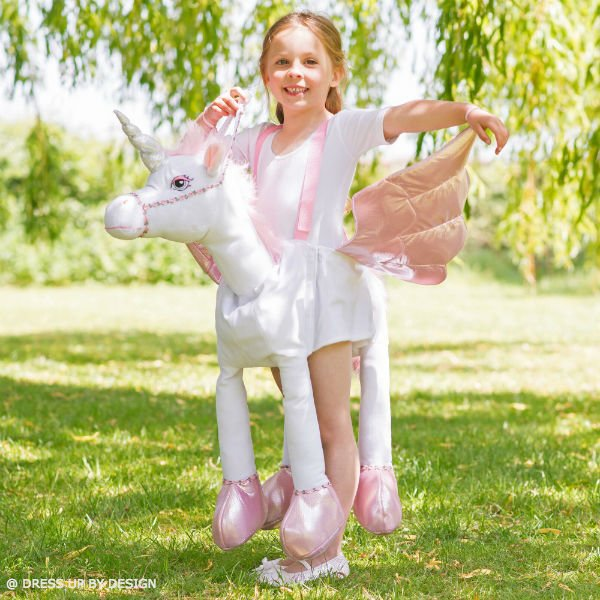 DRESS UP BY DESIGN Girls White & Pink Unicorn Costume with Wings