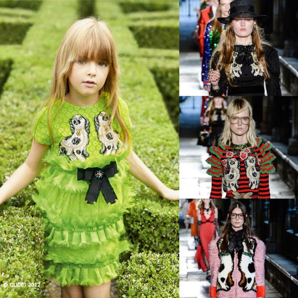 GUCCI 2017 Girls Green Broderie Dress with Embroidered Spaniel dogs appliques