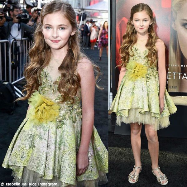Isabella Kai Rice Wears Mischka Aoki Dancing with the Queen Dress on at Unforgettable Movie Premiere