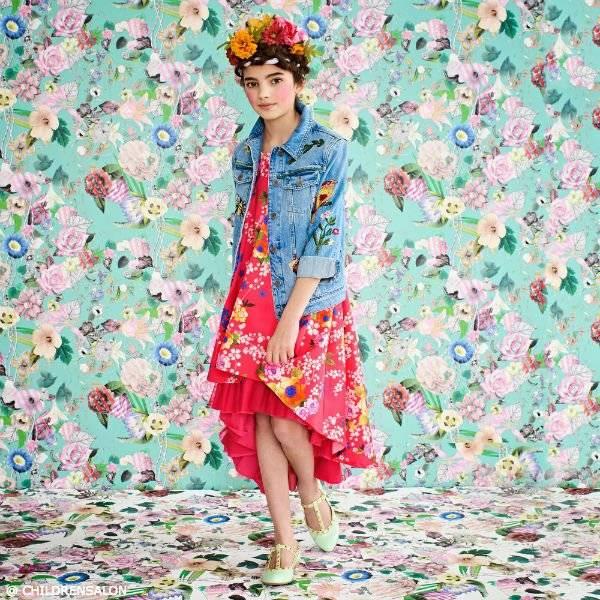 SHOP JUNIOR GAULTIER Girls Pink Floral Satin Dress - Girls Floral Fashion 2017