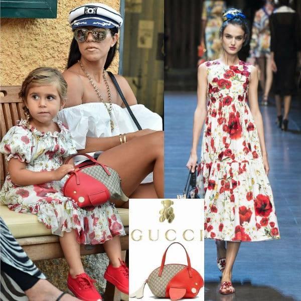 Kourtney Kardashian Penelope Disick Gucci Purse DG Poppy Dress Portofino Italy Sept 2016