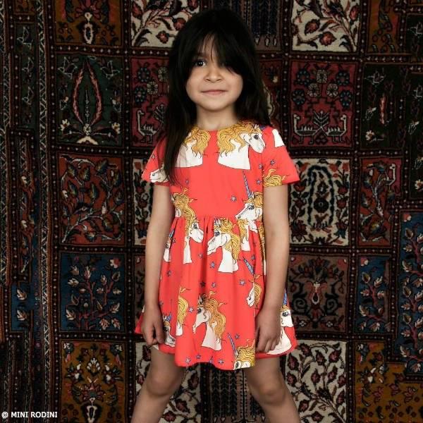 MINI RODINI Girls Red Organic Cotton Unicorn Dress