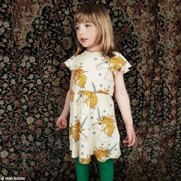 MINI RODINI Ivory Organic Cotton Unicorn Print Dress