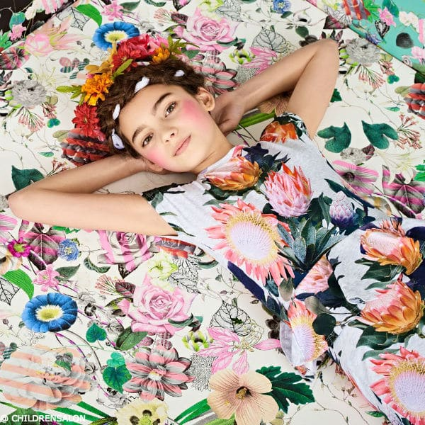 SHOP MOLO Girls Protea Print 'Christina' Peplum Dress - Girl Flower Fashion 2017