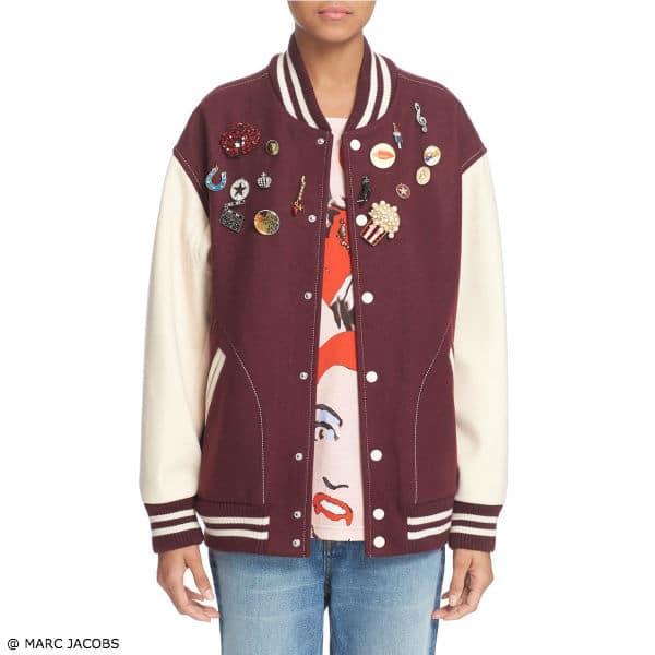 Marc Jacobs Womens Cinema Embellished Varsity Jacket
