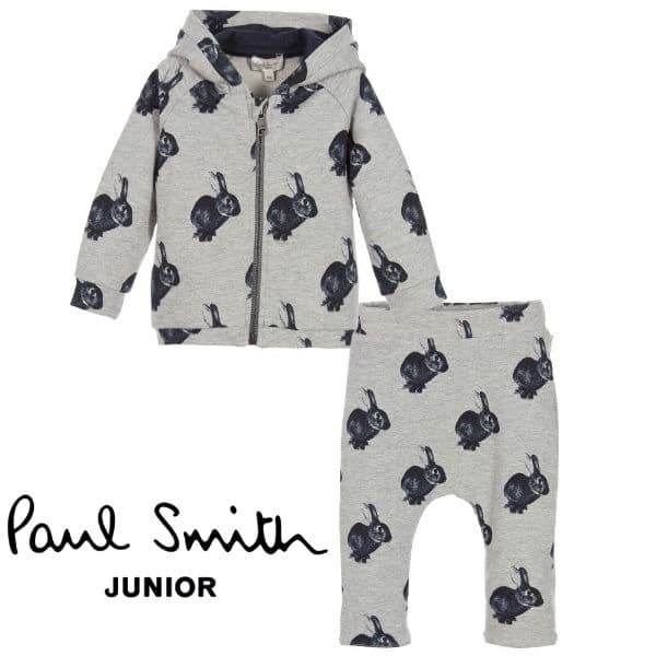 PAUL SMITH JUNIOR Baby Grey Tracksuit with Bunnies