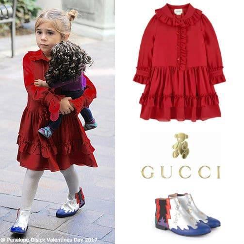 Penelope Disick GUCCI Girls Mini Me Red Silk Dress Metallic Multicolor Boots