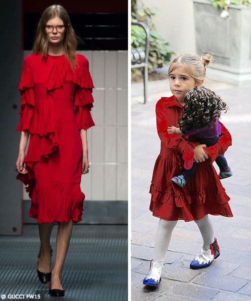 Penelope Disick GUCCI Girls Mini Me Silk Red Ruffle Dress