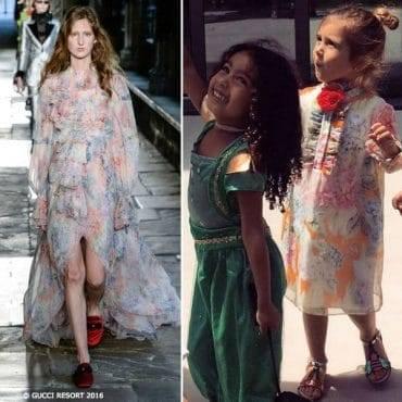 Penelope Disick Mini Me Gucci Hydrangea Print Silk Dress Easter 2017