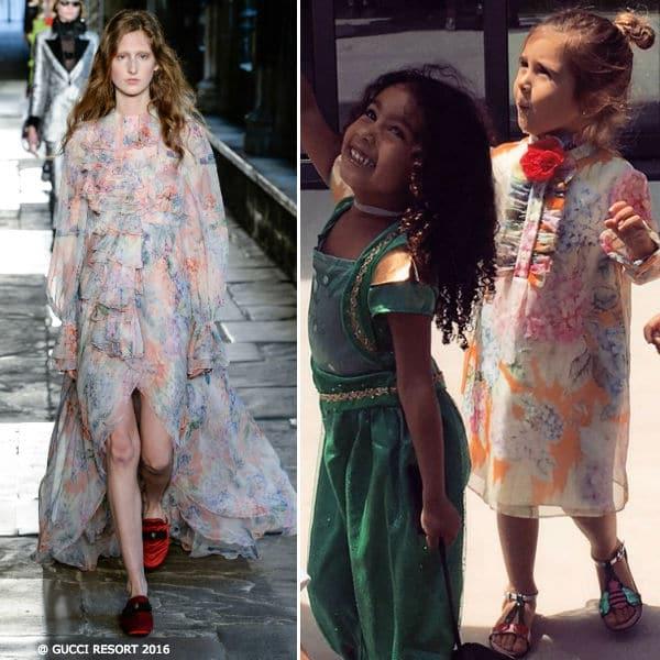 Penelope Disick Mini Me Gucci Hydrangea Print Silk Dress 2