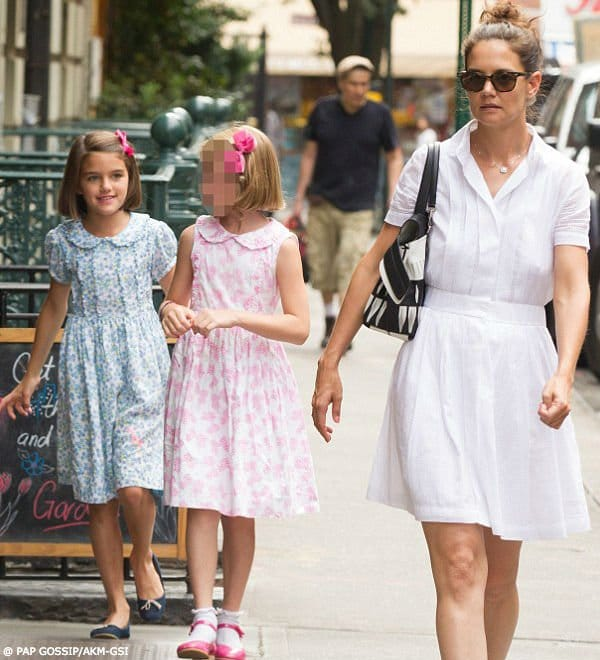 Suri Cruise Katie Holmes NYC Aug 6 2016 Rachel Riley Forget Me Not Frill Dress