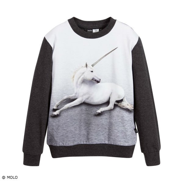 Molo Grey Unicorn Magine Long Sleeve Cotton Jersey Top