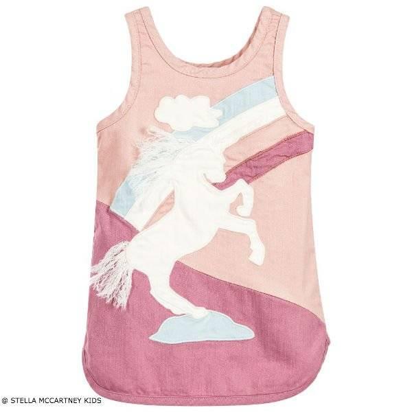 Stella Mccartney Kids Girls Pink Unicorn Cotton Dress