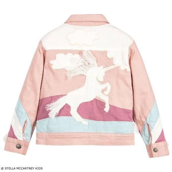 Stella McCartney Kids Girls Pink Unicorn Denim Jacket