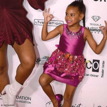 Blue Ivy in Mischka Aoki Her Royal Highness Dress Red Carpet Wearable Art LA Event
