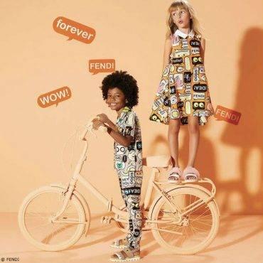 Fendi Girls Orange Speech Bubble Dress