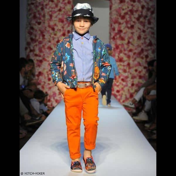 HITCH-HIKER Boys Blue Cotton Flower Bomber Jacket