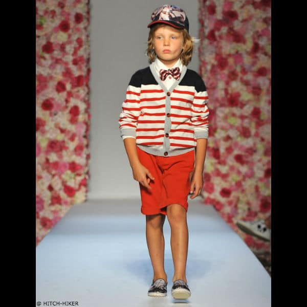 HITCH-HIKER Boys Red White Striped Cardigan