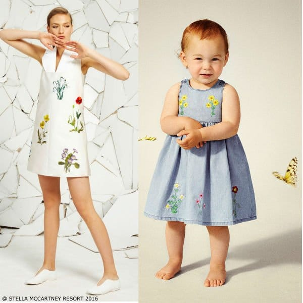 Stella McCartney Kids Baby Girls Mini Me Embroidered Floral Blue Dress