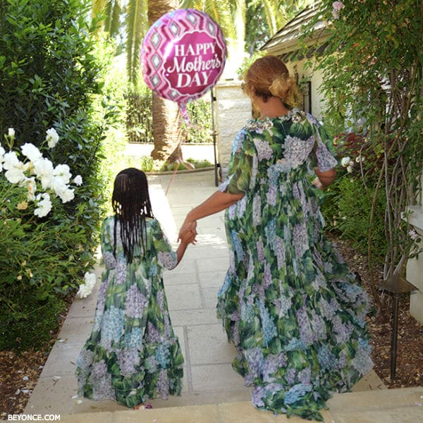 Beyonce Blue Ivy Celebrate Mothers Day Wearing Dolce Gabbana Ortensia Dresses