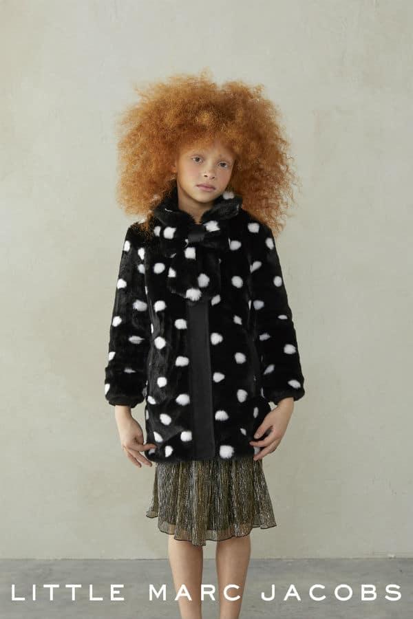 LITTLE MARC JACOBS Girls Black & White Fur Coat FW17