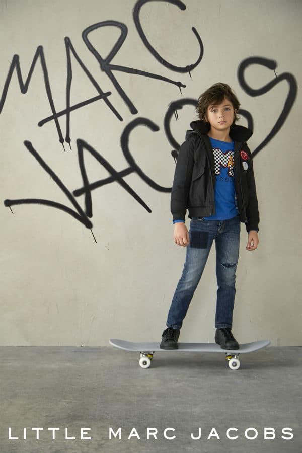 Little Marc Jacobs Blue Logo Shirt Black Jacket and Jeans FW17