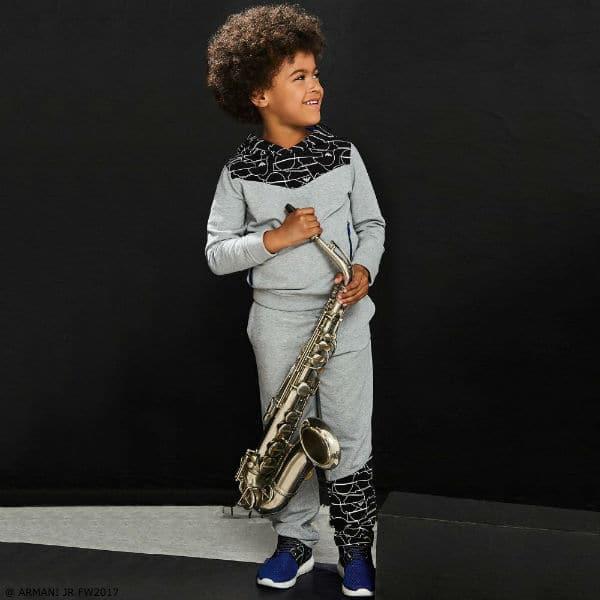 ARMANI JUNIOR Boys Grey BLUE Zip-Up Top Sweatpants
