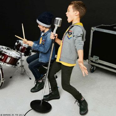 ARMANI JUNIOR Boys Grey Zip-Up Top Yellow Shirt Jeans