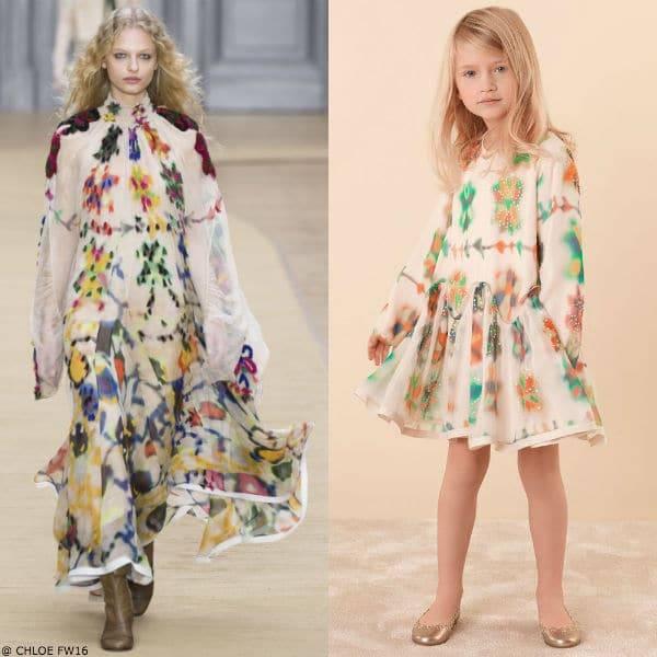 Chloe Girls Mini Me Girls Printed Silk Dress