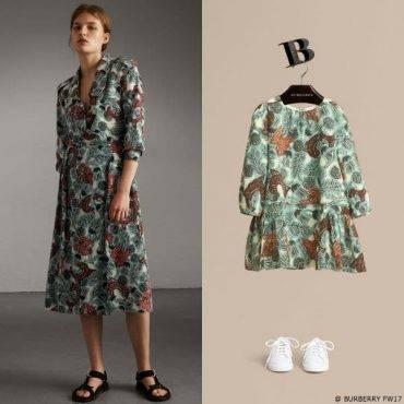 Burberry Beasts Girls Mini Me Print Silk Dropped-waist Dress