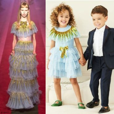 GUCCI Mini Me Girls Blue Tulle Sequin Dress Fall Winter 2017