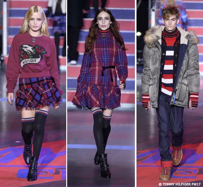 Georgia May and Lizzie Jagger with Presley Gerber TOMMY HILFIGER FW17