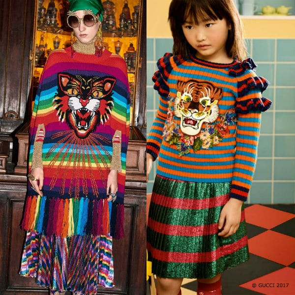 Gucci Girls Mini Me Striped Tiger Sweater Skirt Fall Winter 2017