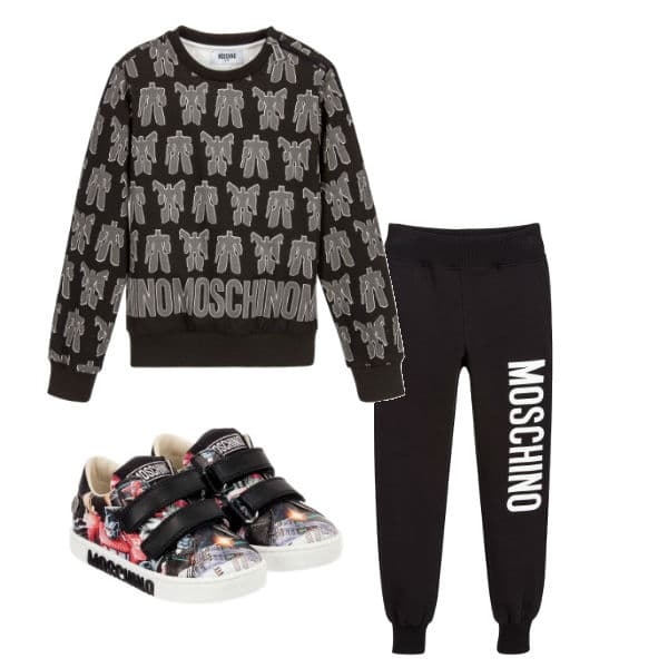 Moschino Kids Boys Black Transformers Outfit FW17