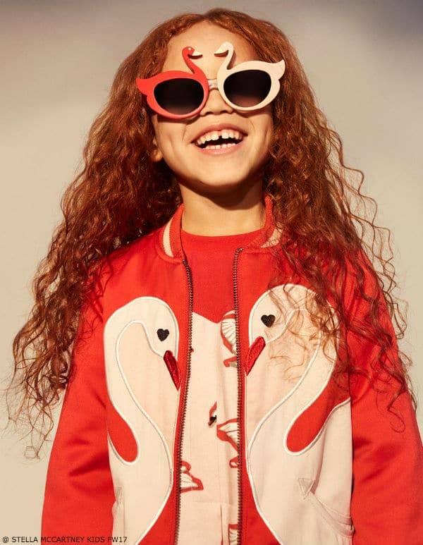 Stella McCartney Kids Girls Red & White Swan Look Fall 2017
