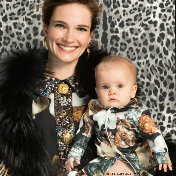 DOLCE & GABBANA Silk Mini Me Gatti Cat Print Baby Outfit