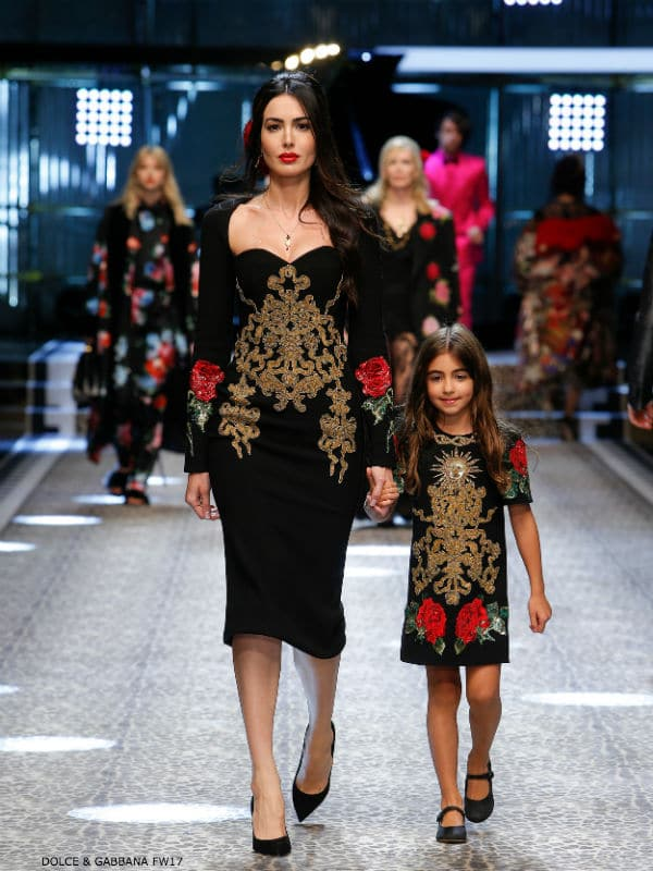 DOLCE & GABBANA GIRLS MINI ME RUNWAY BLACK EMBELLISHED ROSE DRESS