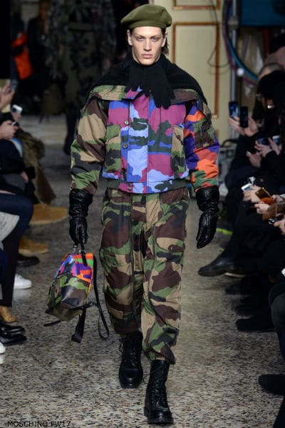 Moschino Mens Fall 2017 camouflage look