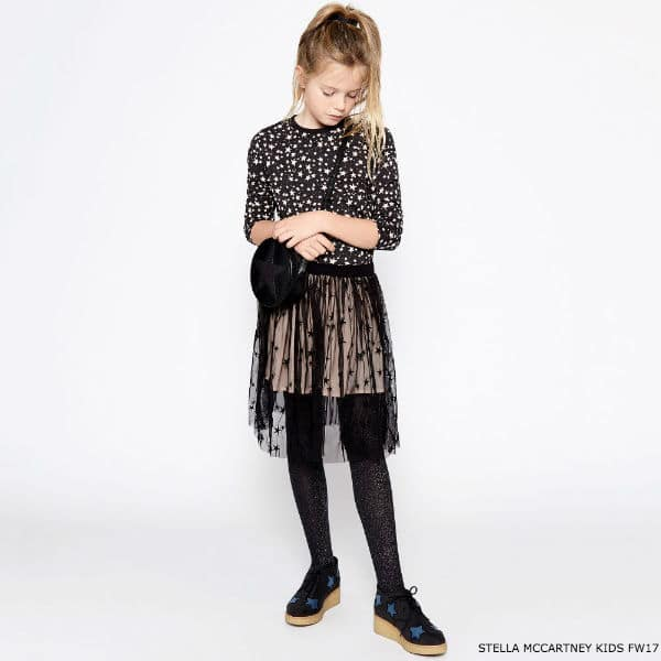 STELLA MCCARTNEY KIDS Black & Pink Stars 'Farah' Top & Pink Tulle Skirt