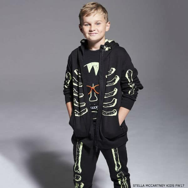 STELLA MCCARTNEY KIDS Black Skeleton 'Bandit' Zip-Up Top & Pants