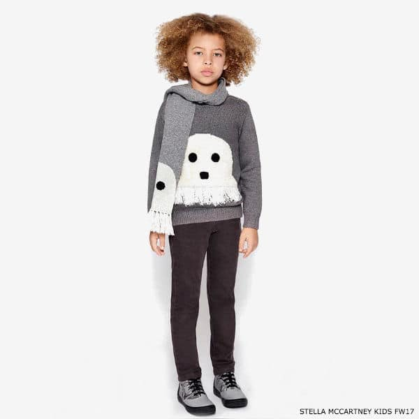 STELLA MCCARTNEY KIDS Grey Knitted Ghost Sweater & Scarf