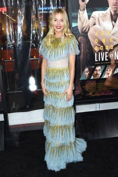 Sienna Miller Gucci Spring 2017 Blue Tulle Gold Dress