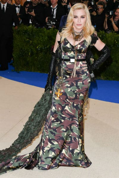 madonna met gala moschino camouflage dress 2017