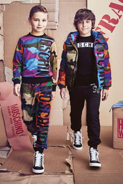 moschino boys camouflage look fall 2017