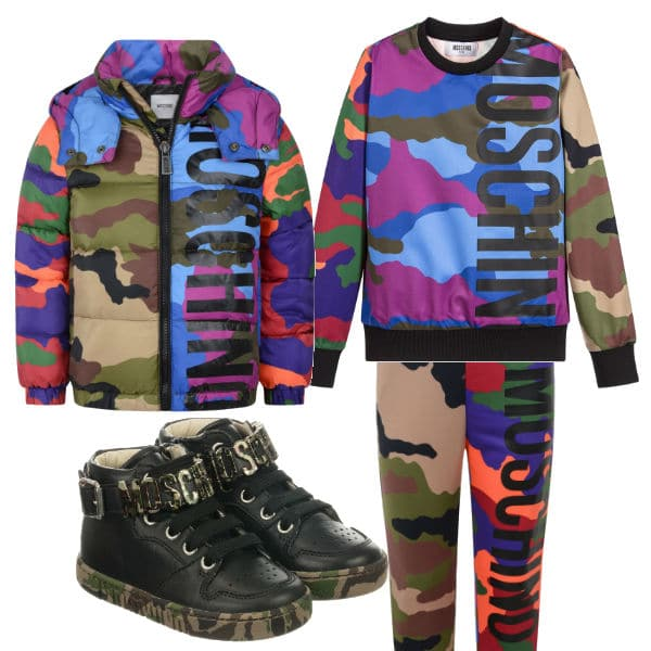 MOSCHINO KID-TEEN Boys Camouflage Outfit Fall 2017