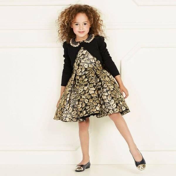 DAVID CHARLES Girls Black & Gold Jacquard Dress & Black Cardigan